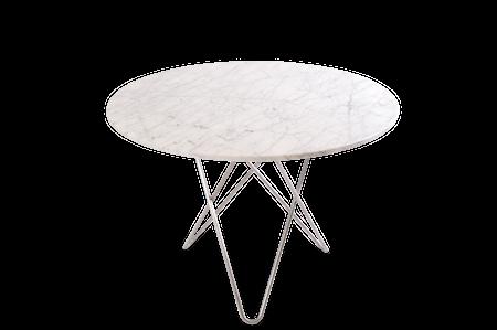 Large O Table Matt Hvit Marmor Rustfri Stålramme Ø100