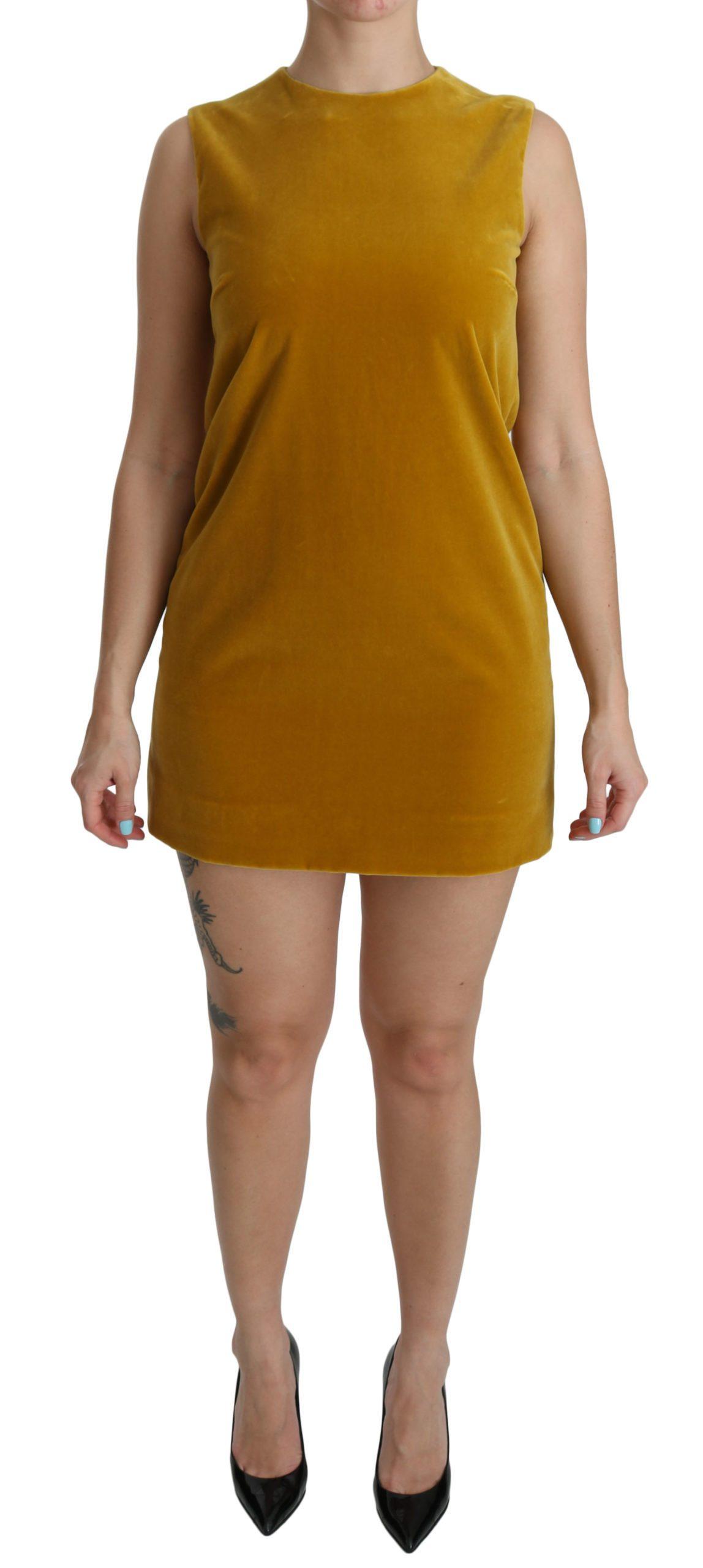 Dolce & Gabbana Women's Stretch Shift Mini Dress Yellow DR2089 - IT40 S
