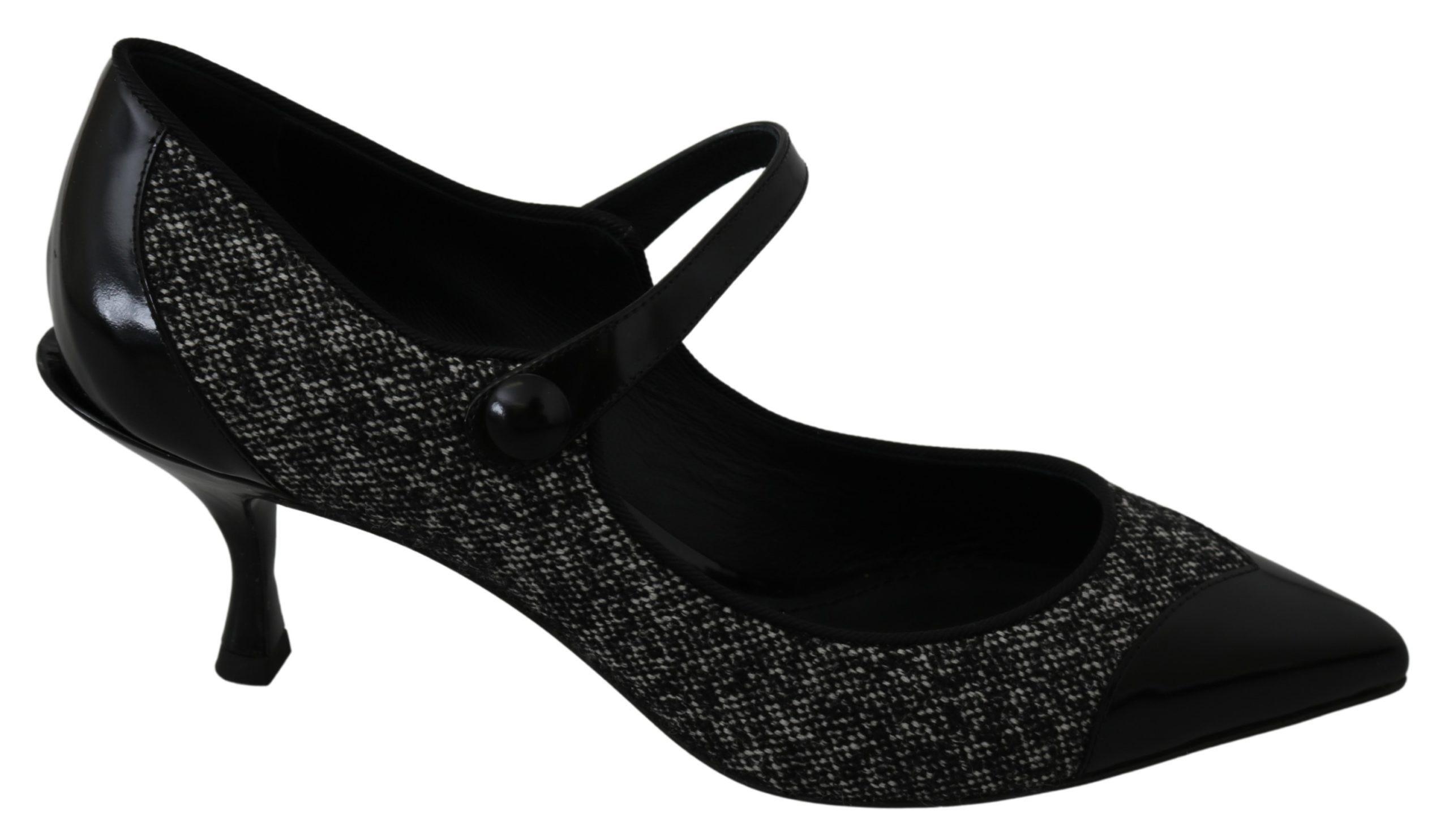 Dolce & Gabbana Women's Mary Janes Boucle Leather Pumps Black LA7248 - EU39/US8.5