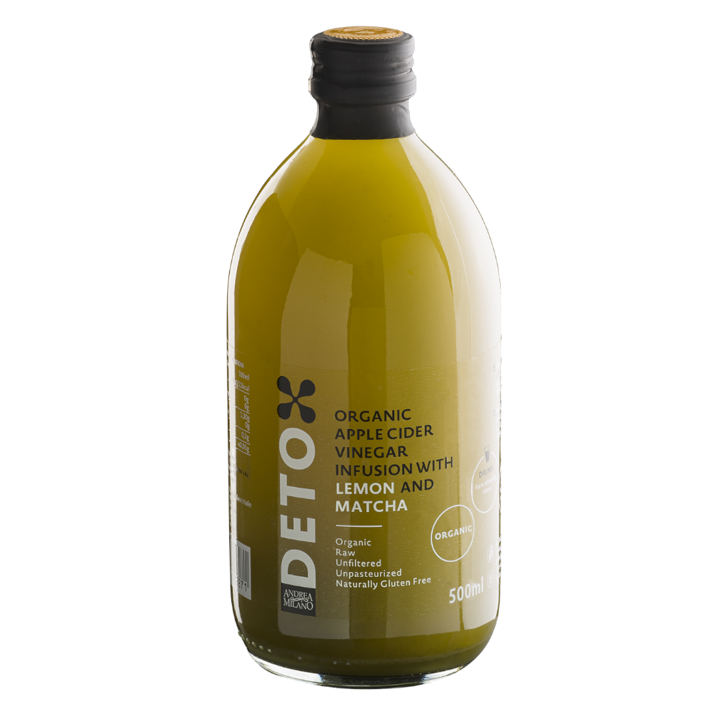 Deto Organic Apple Cider Vinegar with Lemon & Matcha Juice 500ml by Andrea Milano