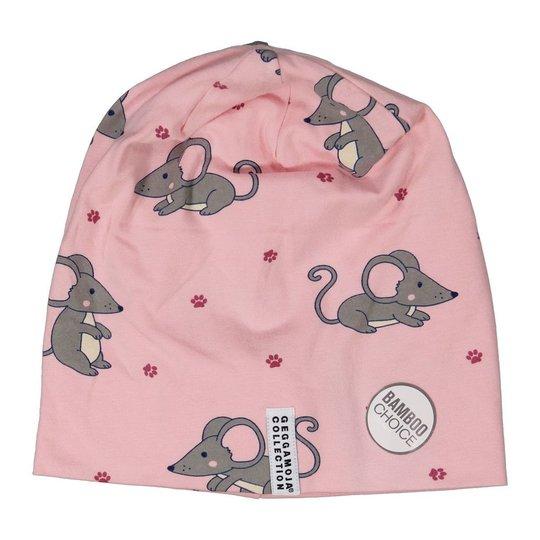 Geggamoja Fleeceforet Lue, Pink Mouse, 6-12 Måneder