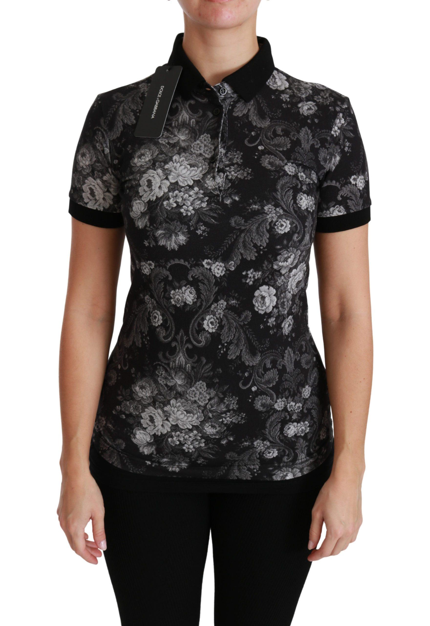 Dolce & Gabbana Women's Floral Polo T-shirt Black TSH4452-38 - IT38 XS