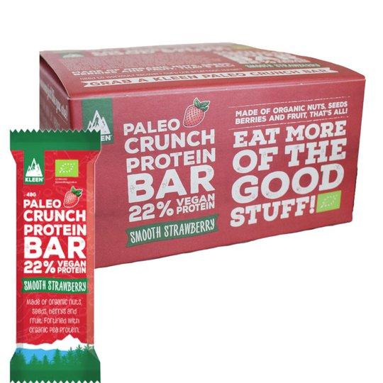 """Laatikollinen Luomu Proteiinipatukoita """"Raw Strawberry"""" 12 x 48g - 40% alennus"""