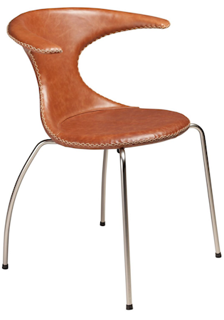 Flair stol – Lysebrunt lær, matte ben