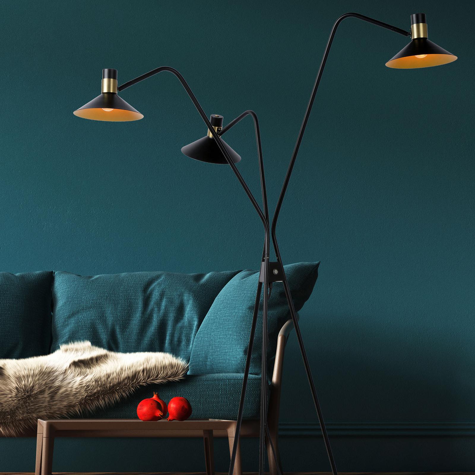 Lattiavalo Pepijn, 3-lamppuinen, musta-kulta