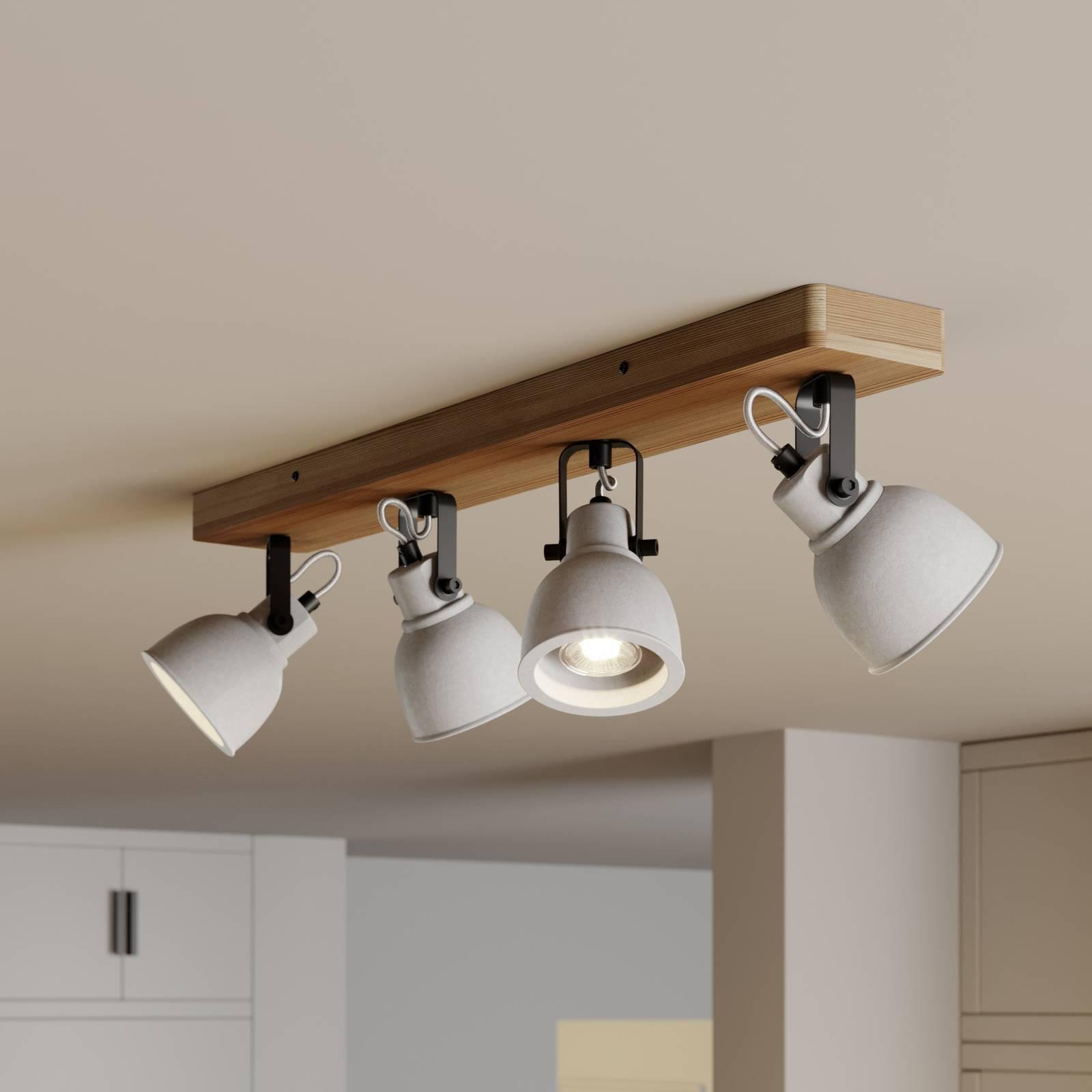 Lindby Mirka-LED-kattovalaisin, mänty 4-lamppuinen