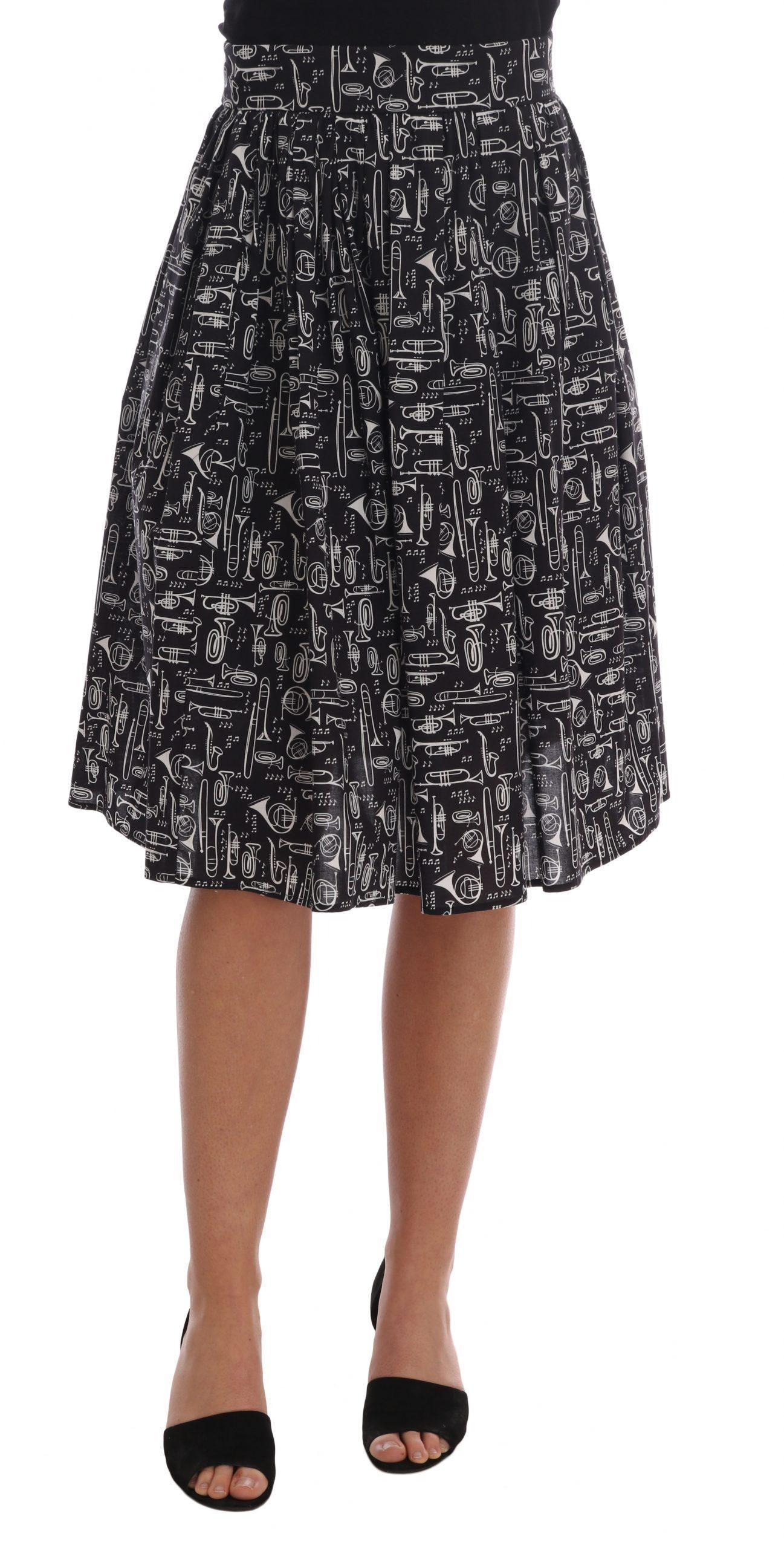 Dolce & Gabbana Women's Jazz Cotton Waist Skirt Black SKI1125 - IT40 S