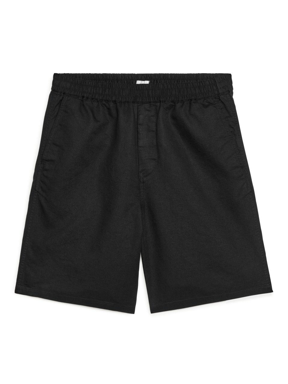 Cotton-Linen Drawstring Shorts - Black