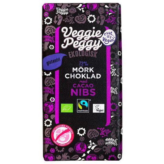 Veggie Peggy Ekologisk Mörk Choklad med Kakaonibs 72%, 85 g