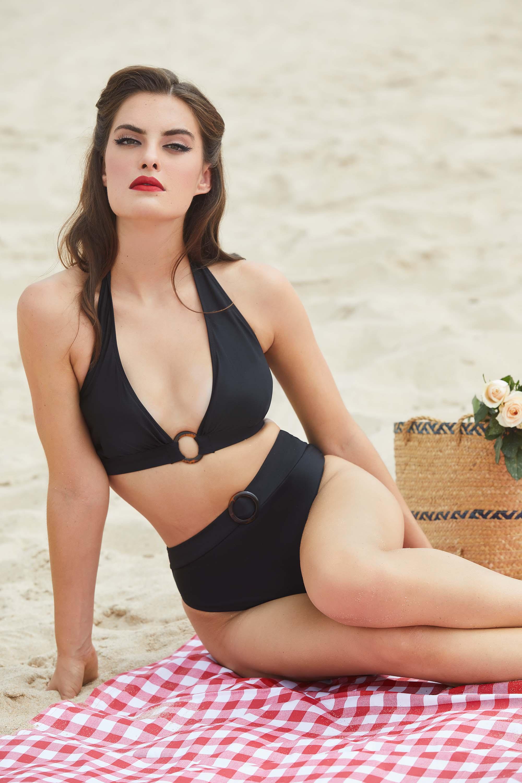 Bettie Page Eco Jayne Black Plunge Bikini Top UK 12 / US 8
