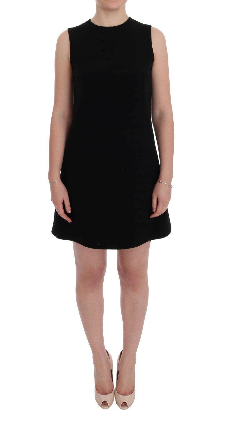 Dolce & Gabbana Women's Wool Stretch Crystal Shift Dress Black SIG60193 - IT40 S
