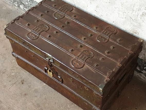 Metal Travel Trunk Brown