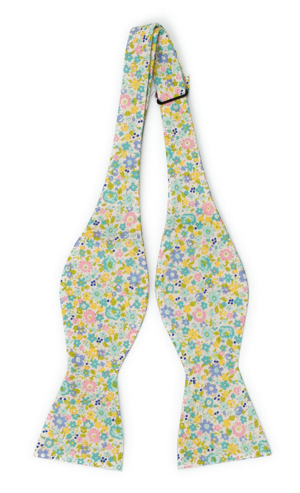 Bomull Sløyfer Uknyttede, Bleke blomster i gult, stålblått, rosa & lilla