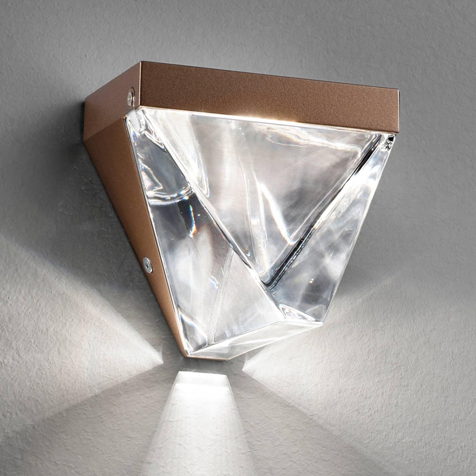 Fabbian Tripla - krystall-LED-vegglampe, bronse