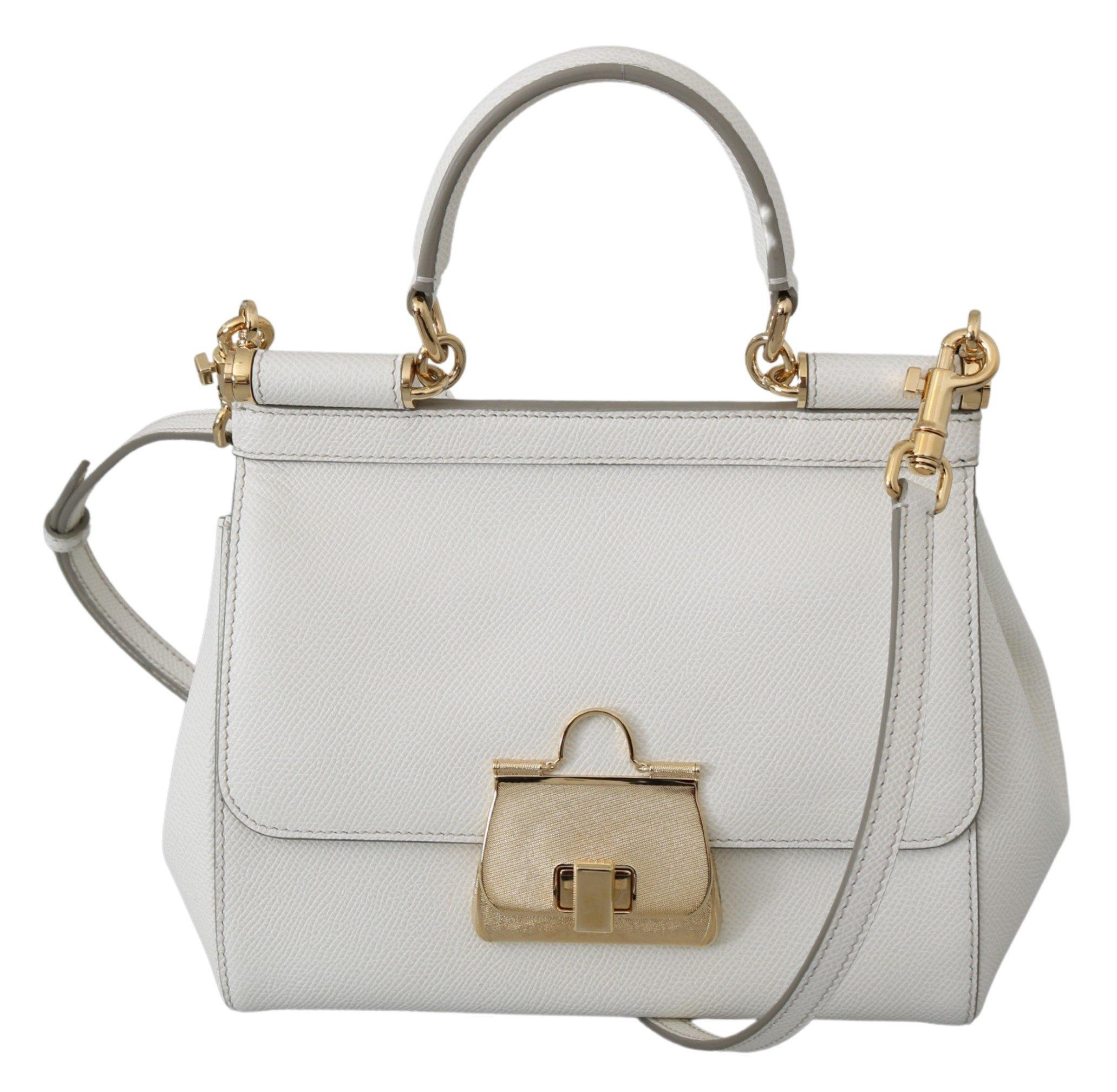 Dolce & Gabbana Women's SICILY Leather Shoulder Bag White VAS9950