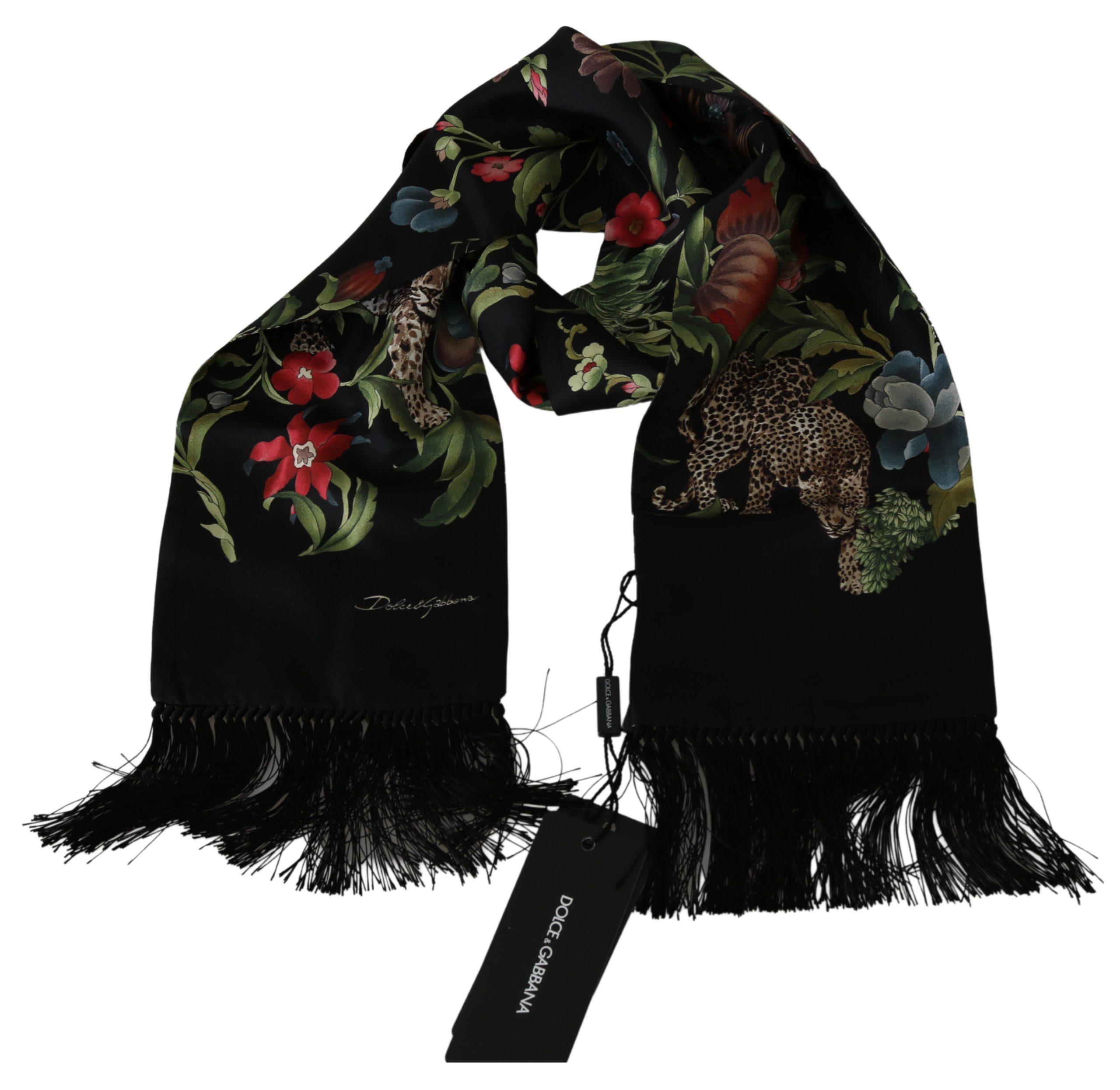 Dolce & Gabbana Men's Jungle Wrap Silk Scarf Black MS1744
