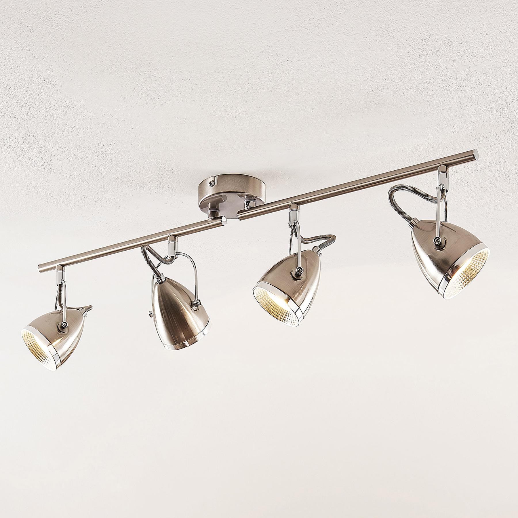 Lindby Jadon LED -kattovalaisin nikkeli, 4-lamp.
