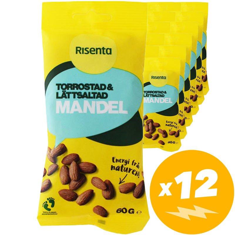 Mandlar Torrostade & lätt saltade 12-pack - 47% rabatt