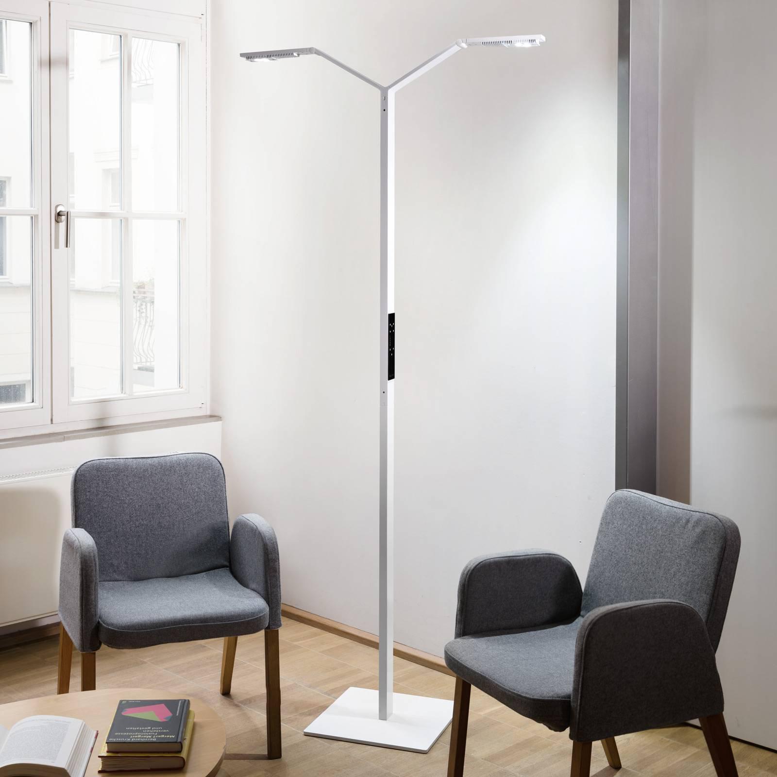 Luctra Floor Twin Linear LED-gulvlampe hvit
