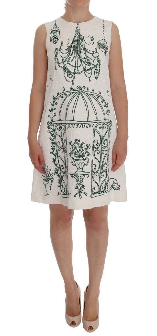Dolce & Gabbana Women's Jacquard Sicily Print Dress White DR1164 - IT38|XS