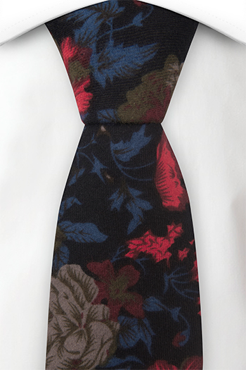 Bomull Slips, Sort bakgrunn & blomster i rød, beige, blå og brun, Notch FINLEY