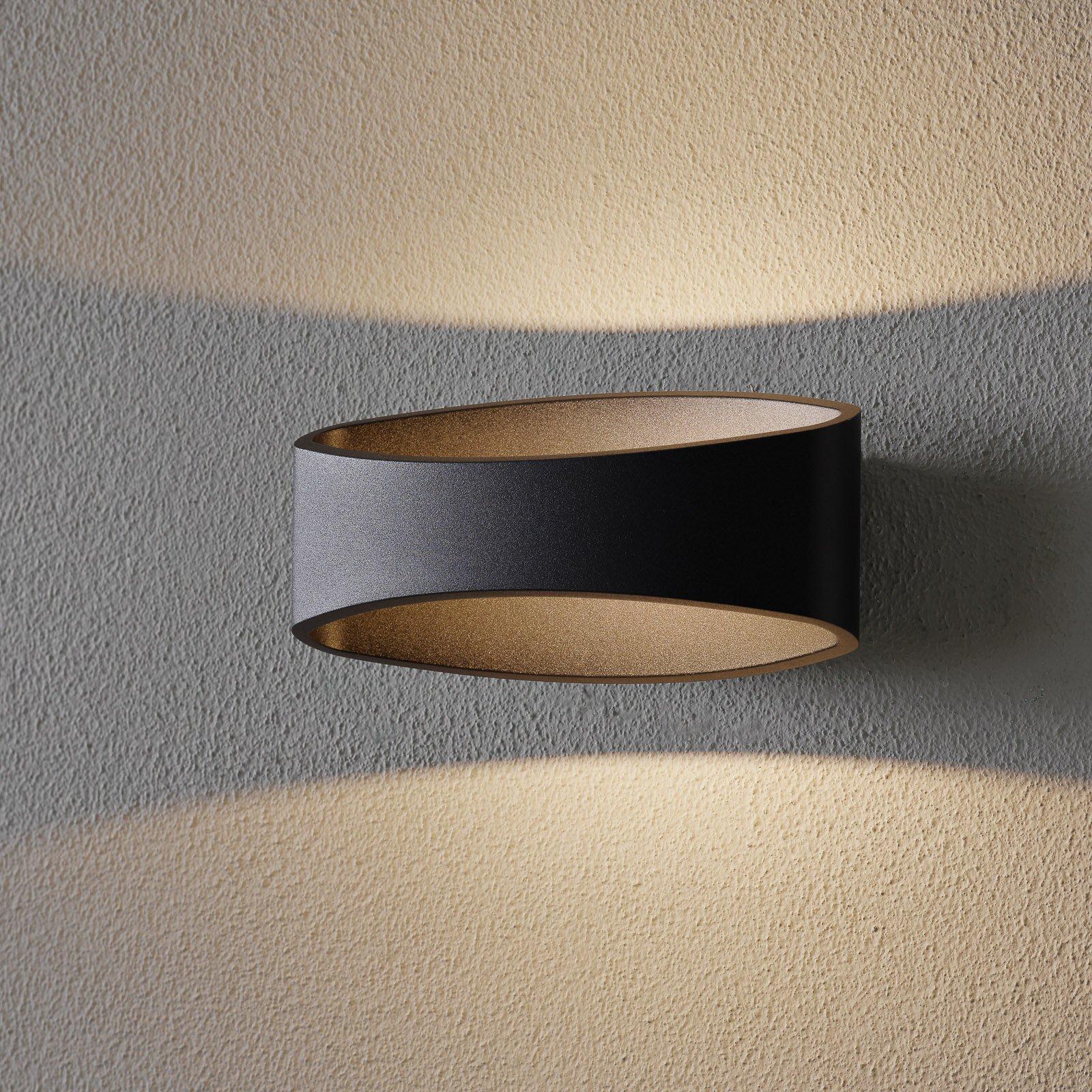 Trame LED-vegglampe, oval form i svart