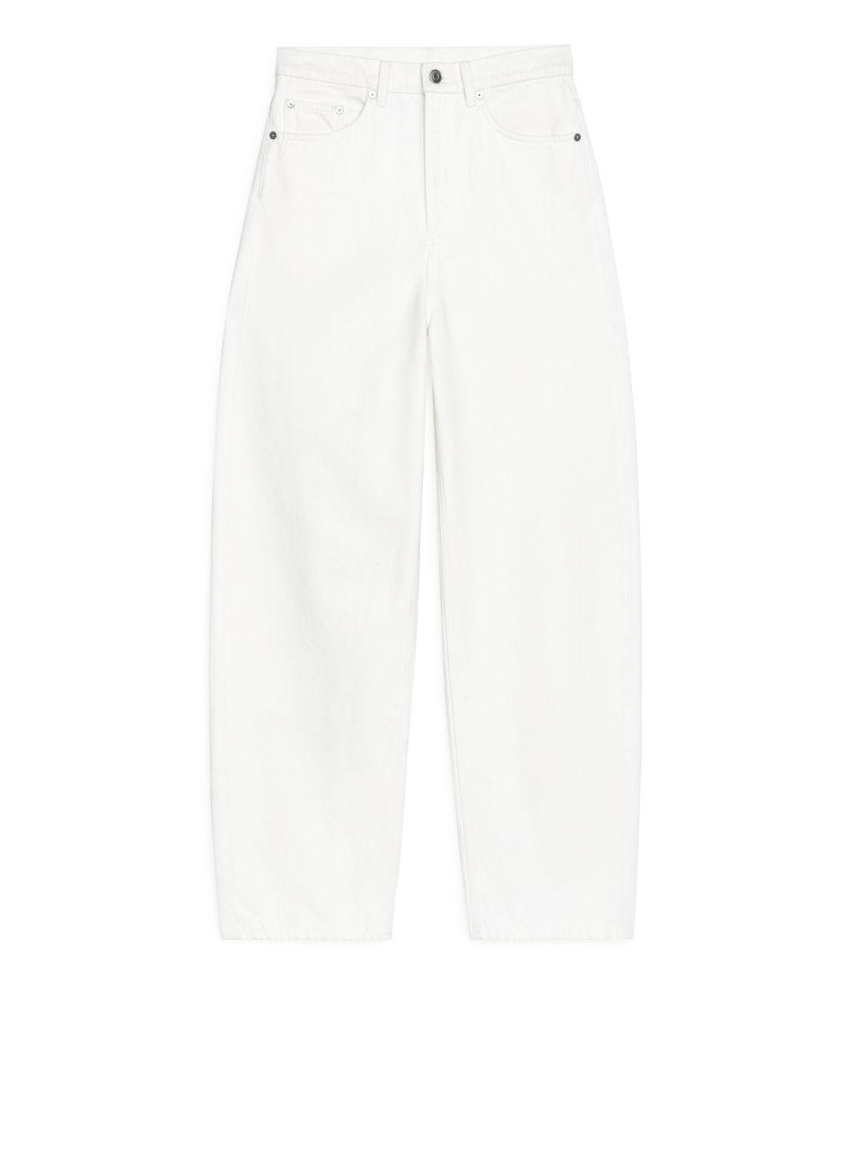 LOOSE Barrel Leg Overdyed Jeans - White