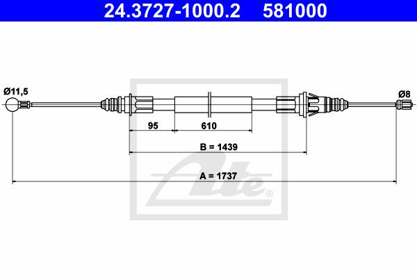 Käsijarruvaijeri ATE 24.3727-1000.2