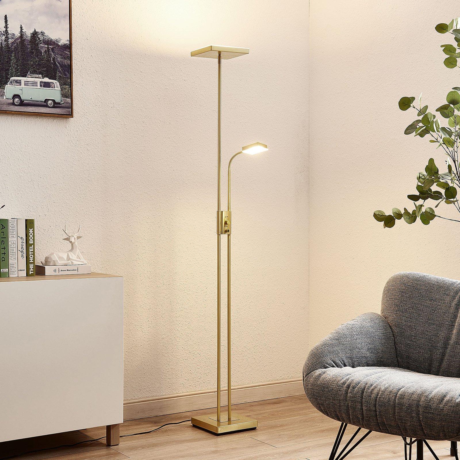 Lindby Seppa LED-gulvlampe, kantet, messing