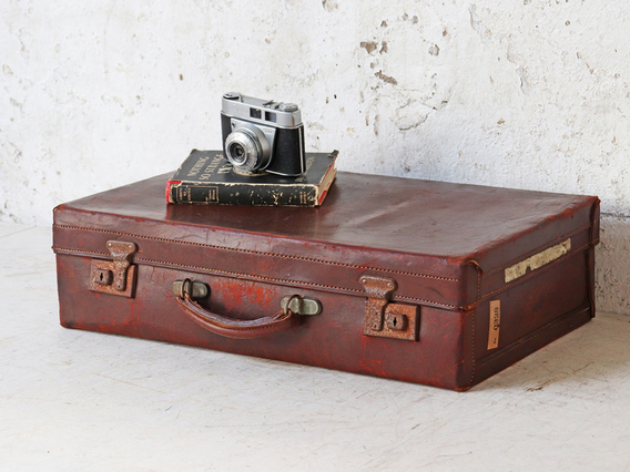 Classic Brown Leather Suitcase Brown