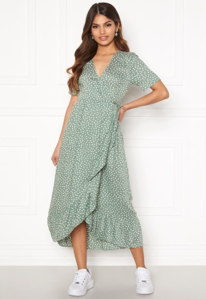 Happy Holly Evie wrap dress Dusty green / Offwhite 48/50