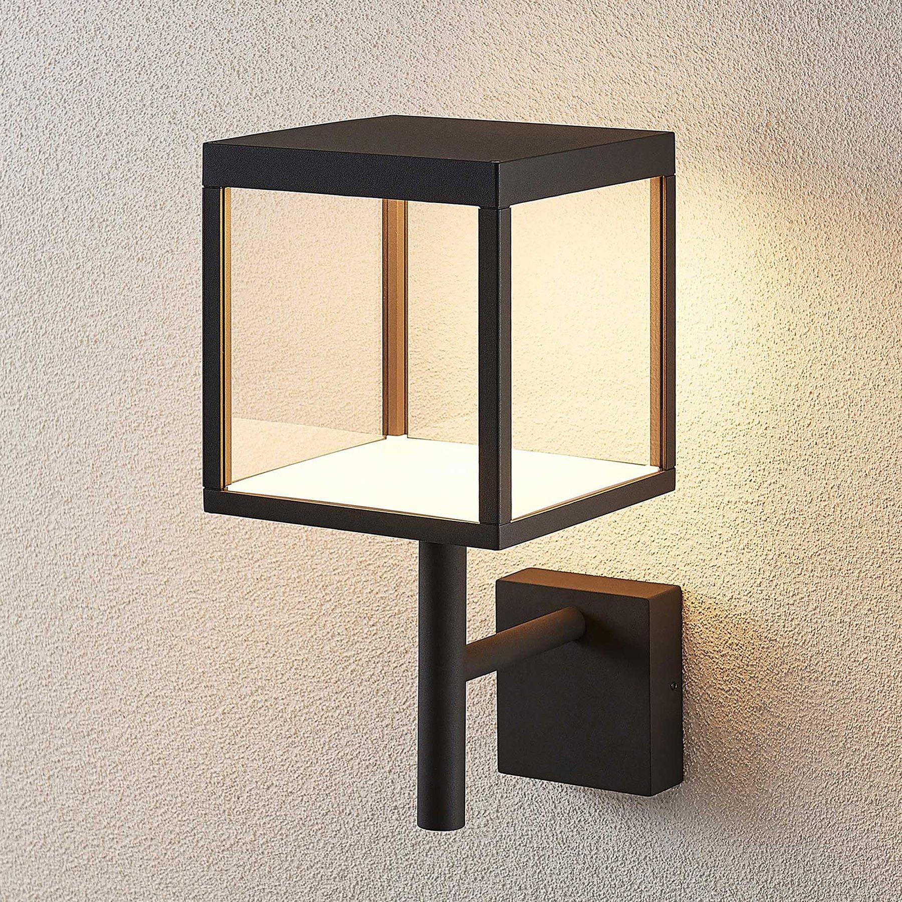 Utendørs LED-vegglampe Cube, glasskjerm, grafitt