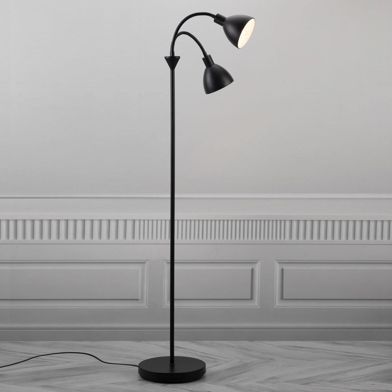 Gulvlampe Ray i svart metall, 2 lyskilder