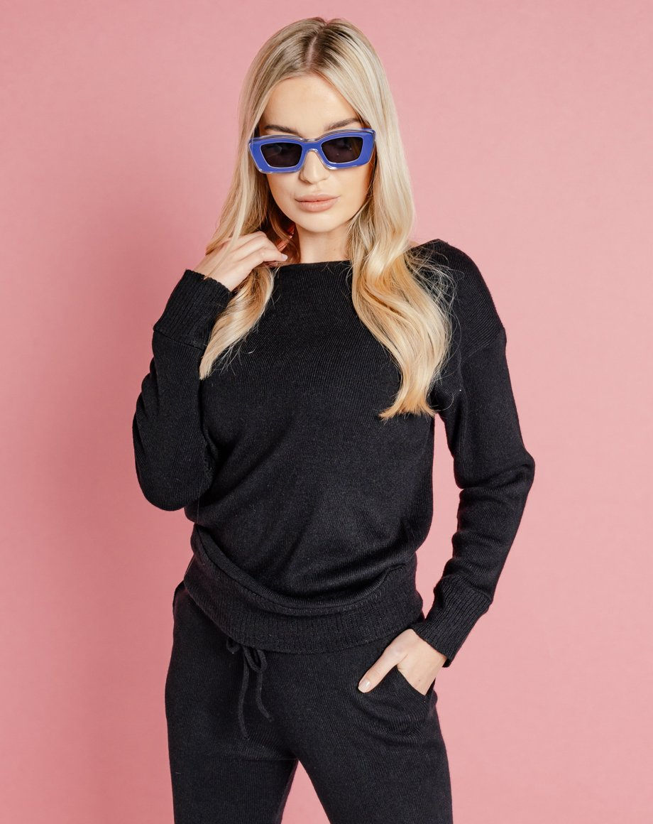 Auriel Knitted Lounge Top - Black / 8
