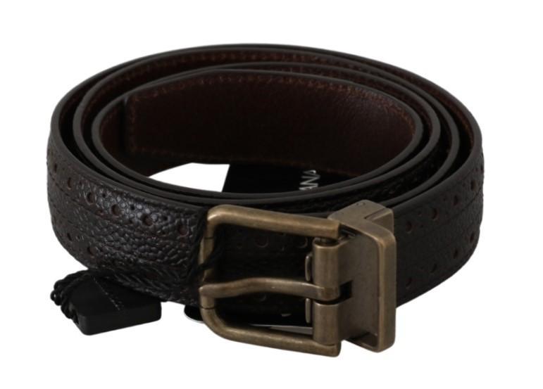 Dolce & Gabbana Men's Buckle Waist Men Leather Belt Brown BEL60488 - 90 cm / 36 Inches
