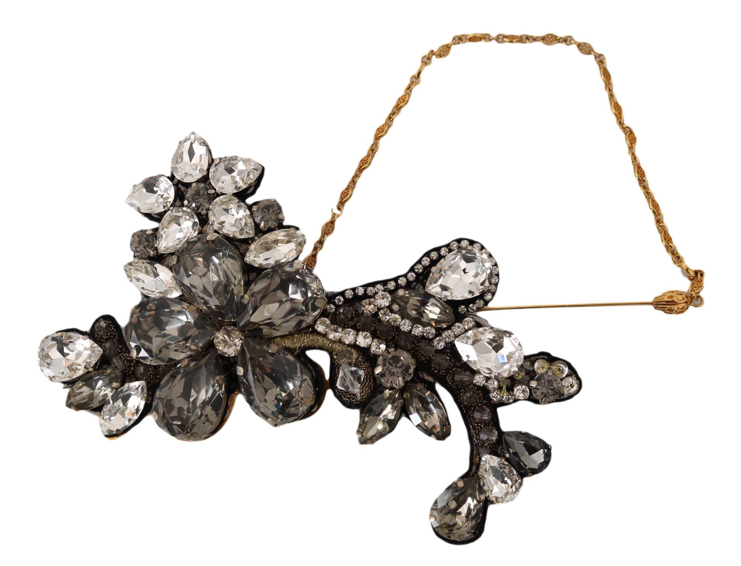 Dolce & Gabbana Women's Lapel Pin Chain Clear Gray Crystal Flower Brooch Gold SMYK1008