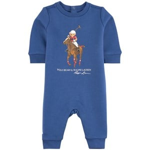 Ralph Lauren Navy Romper with Large Polo Player 3 mån