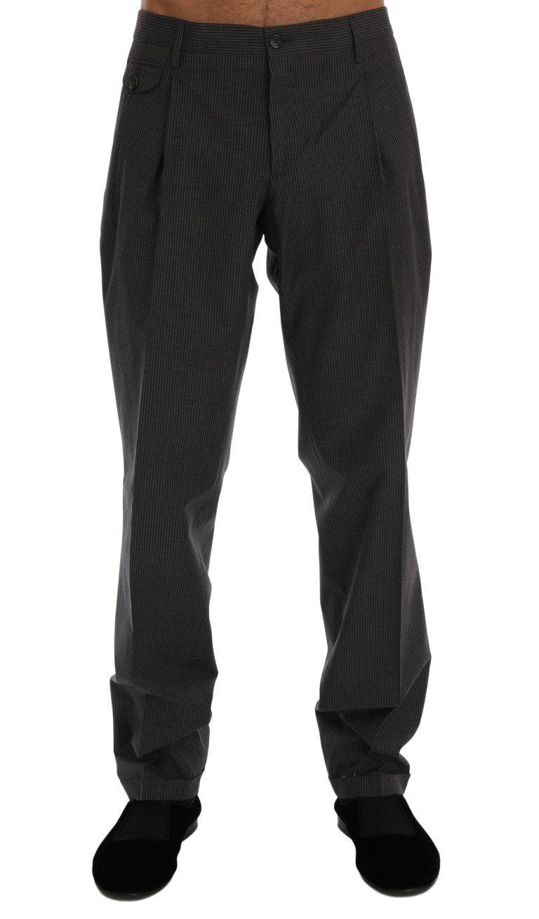 Dolce & Gabbana Men's Striped Cotton Trouser Gray PAN60318 - IT50   L