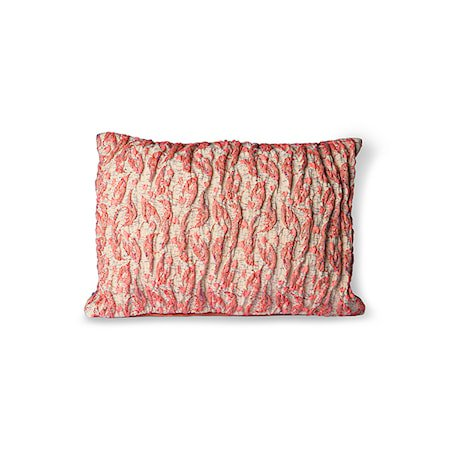 Floral Jacquard Weave Pute Red/Pink 40x30 cm