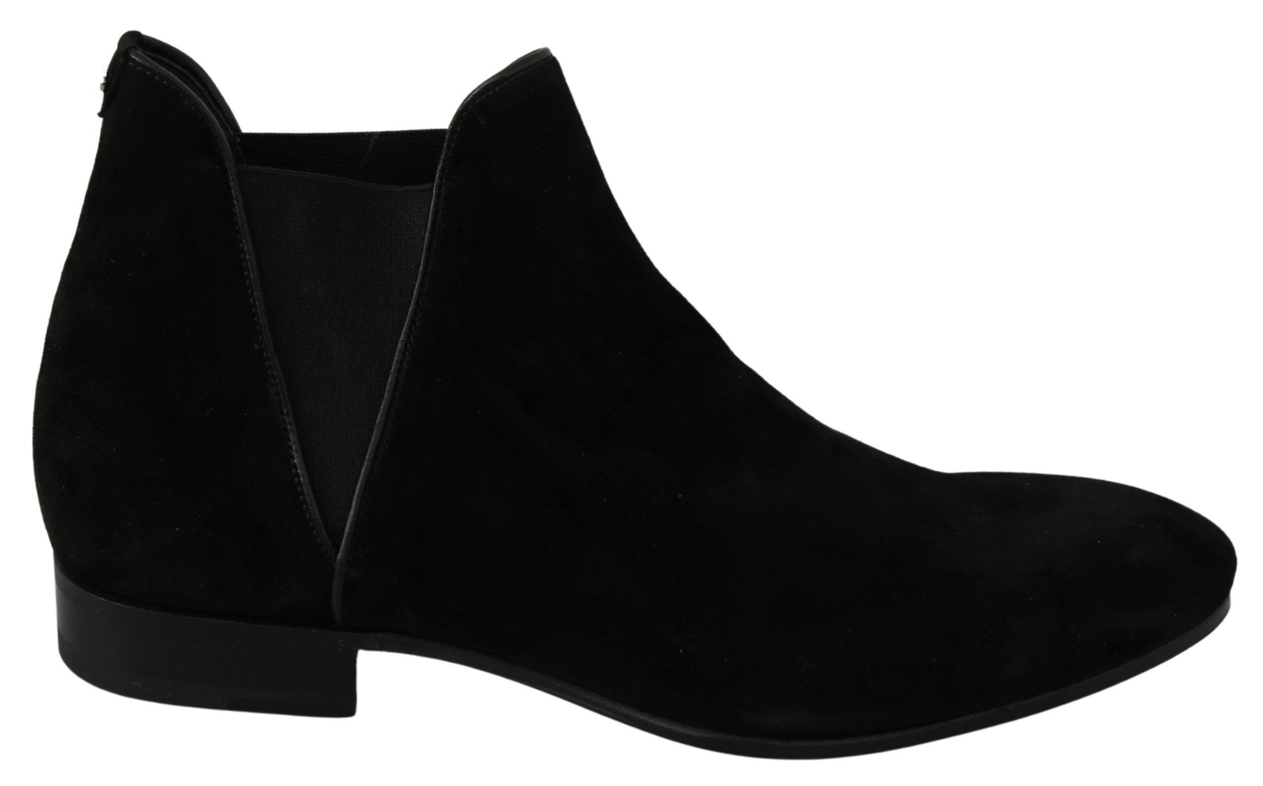 Dolce & Gabbana Men's Suede Leather Chelsea Boots Black MV3047 - EU44/US11