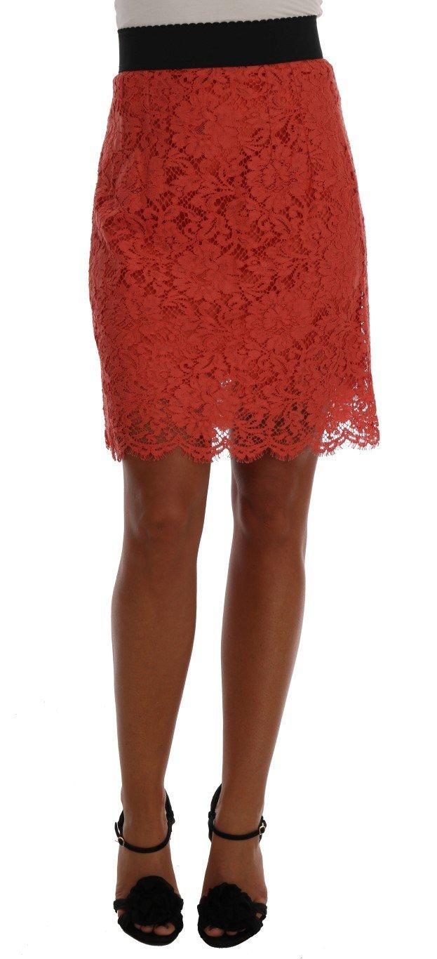 Dolce & Gabbana Women's Macramé Lace Pencil Skirt Orange SKI1035 - IT36|XXS