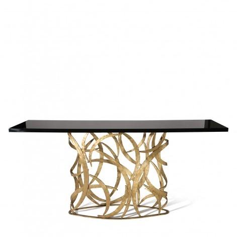 Porta Romana I Elliptical Miro Console Table FRENCH BRASS WITH BLACK LACQUER TOP
