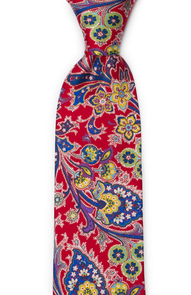 Silke Slips, Surrealistiske flerfargete blomster på rødt, Notch VIVACE Red