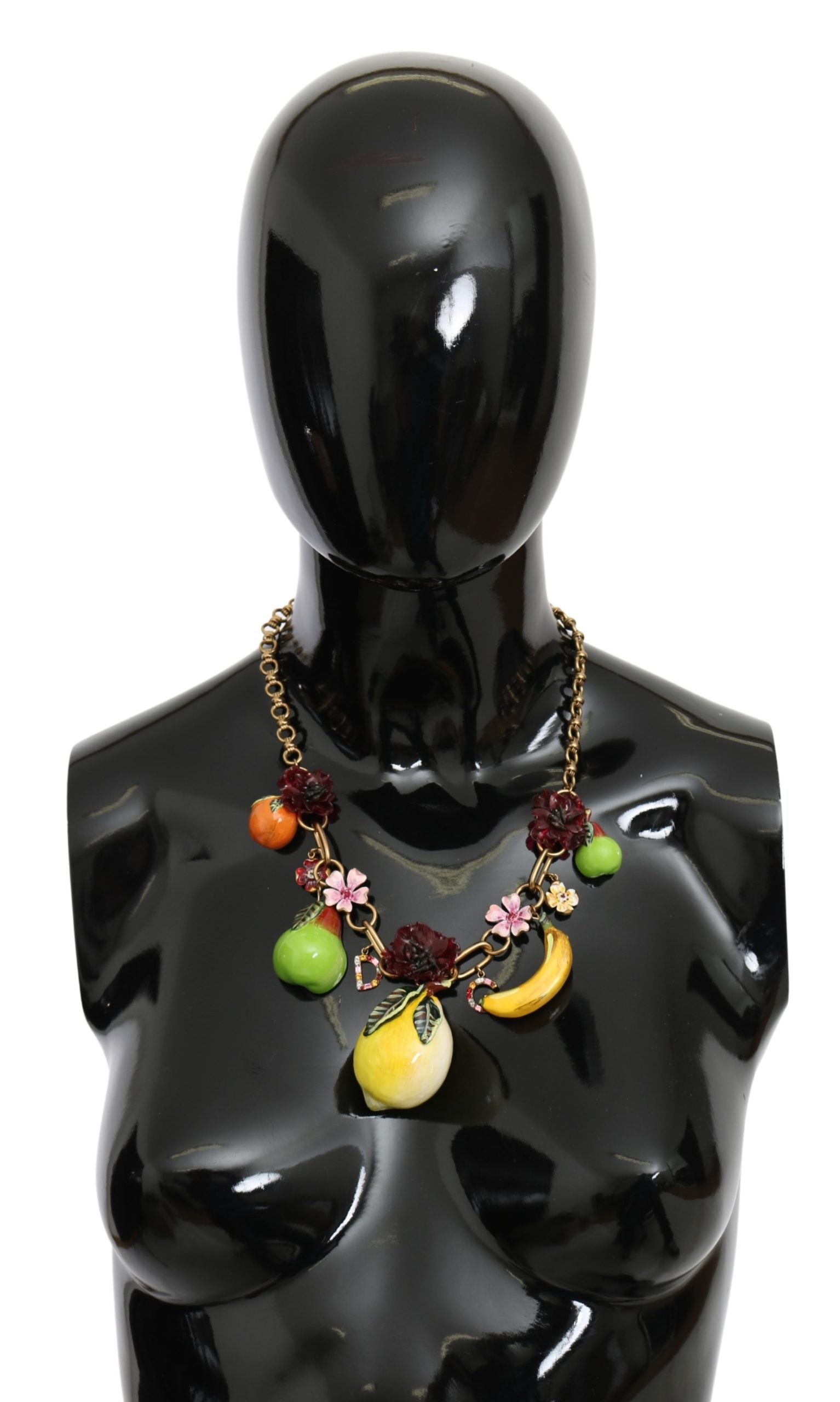 Dolce & Gabbana Women's FRUIT Crystal DG Logo Brass Necklace Green SMY10074