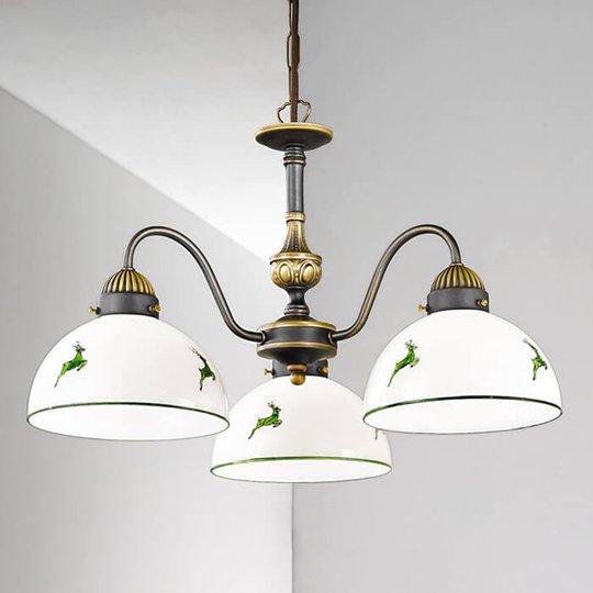 Kolmilamppuinen Nonna-riippuvalaisin valko-vihreä