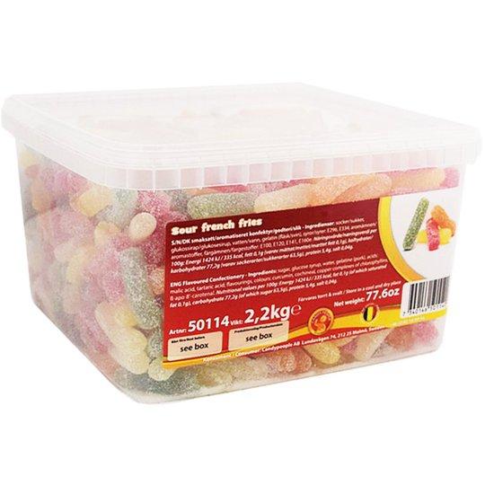 "Hel Låda Godis ""Sour French Fries"" 2,2kg - 51% rabatt"