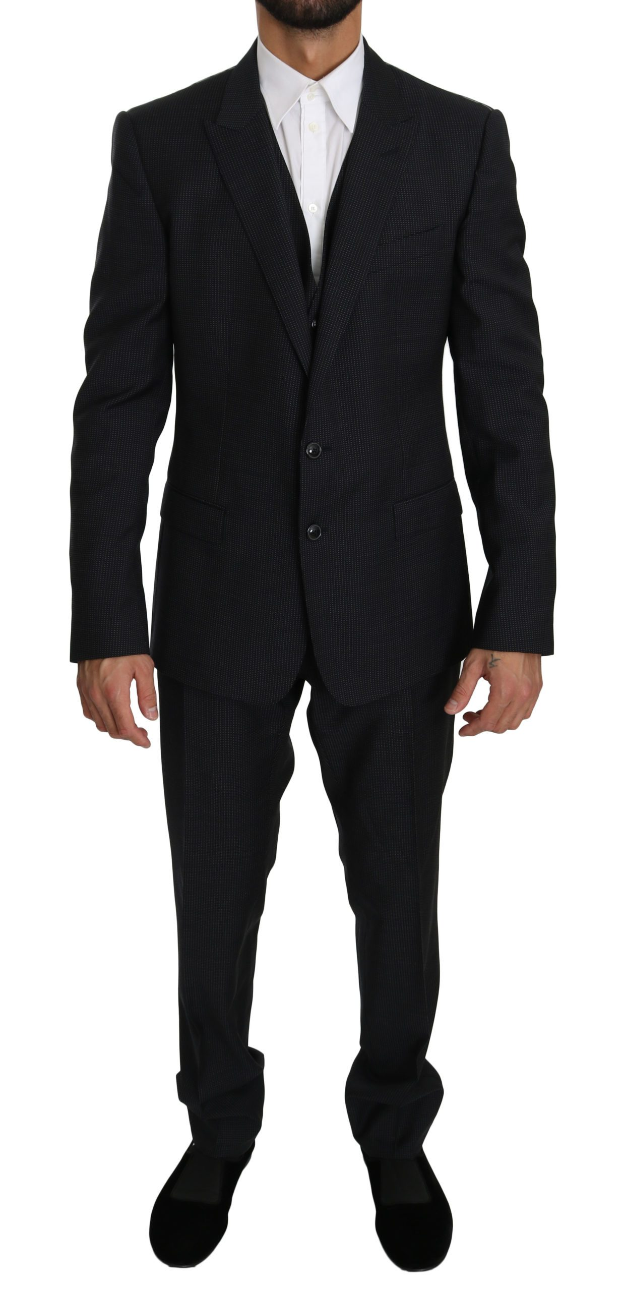 Dolce & Gabbana Men's Single Breasted 3 Piece MARTINI Suit Black KOS1554 - IT52   XL