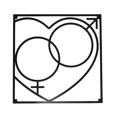 Love collection Gryteunderlag QM Love 18 x 18 cm Svart