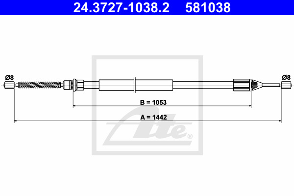 Käsijarruvaijeri ATE 24.3727-1038.2