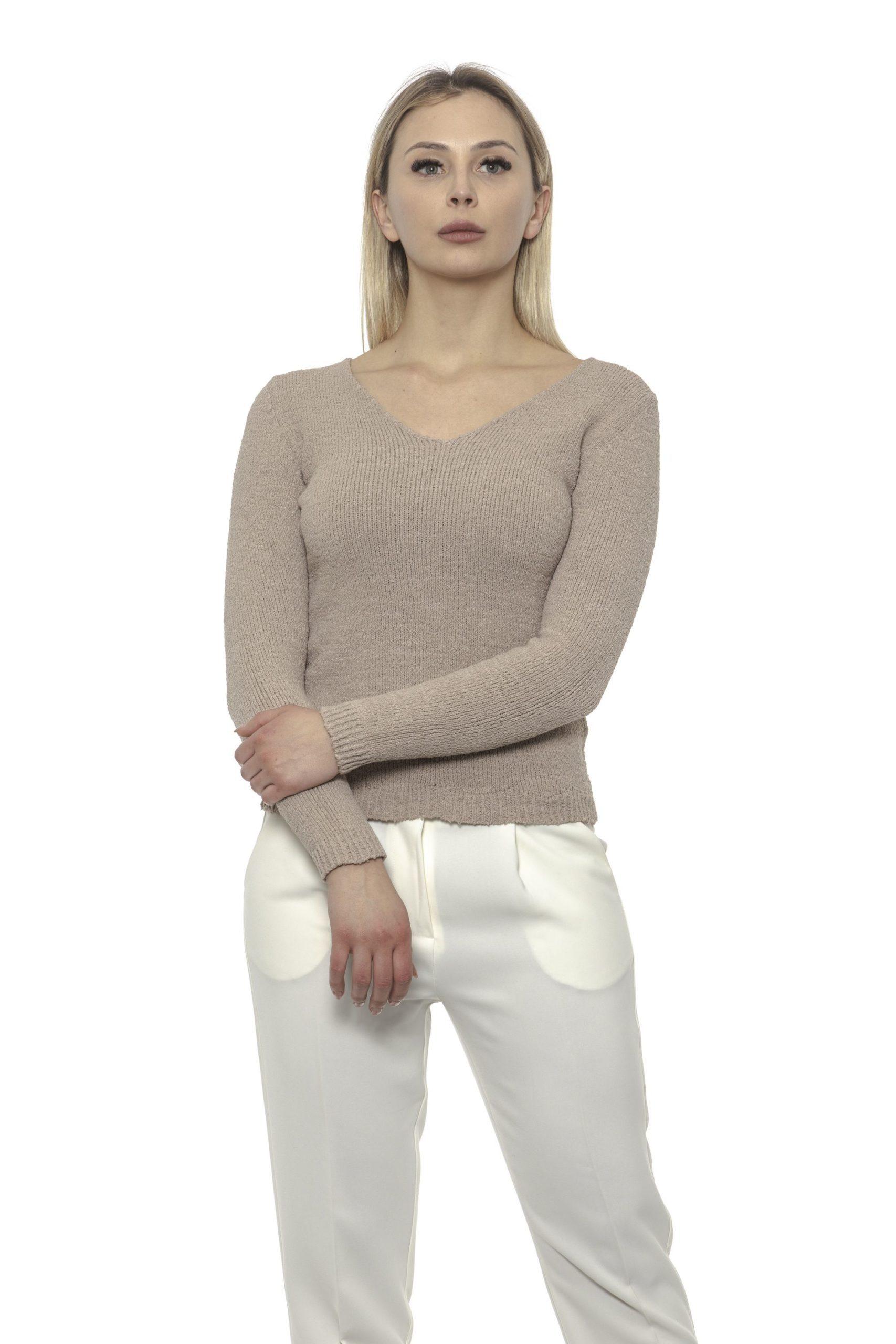 Alpha Studio Women's V Neck Sweater Beige AL1375154 - IT40 | XS